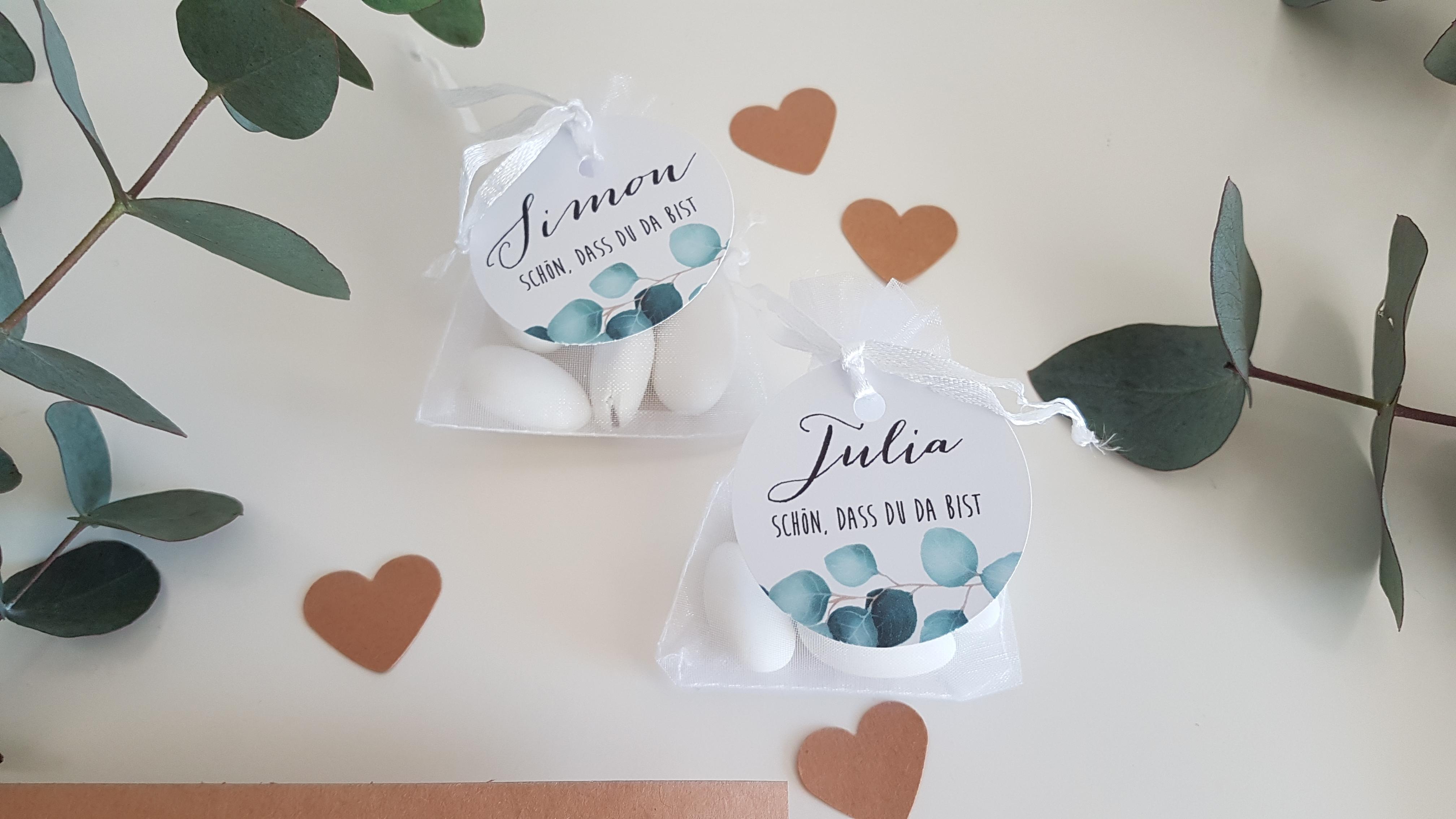 Gastgeschenk Hochzeitsmandeln mit Namen